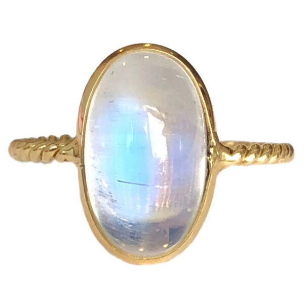 rainbow moonstone bezel set ring