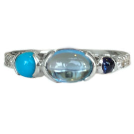 blue topaz ring with diamonds turquoise and sapphire