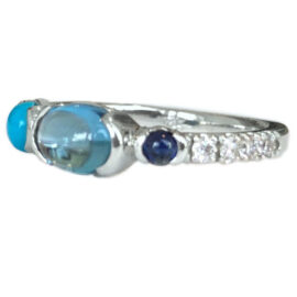 blue topaz ring with sapphire turquoise and diamonds