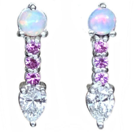 pink sapphire earrings with opal and diamonds