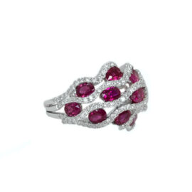 8524 -18kt white gold ruby 2.49ctw & dia .84ctw ring