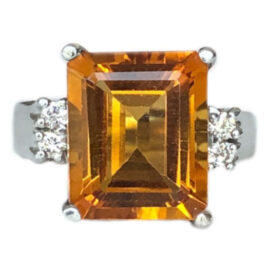 emerald cut citrine and diamond ring