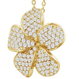 sterling silver goldplate plumeria pendant with cubic zirconia
