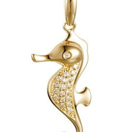 gold seahorse pendant with diamonds
