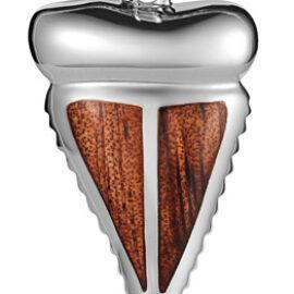 sterling silver koa wood sharks tooth pendant