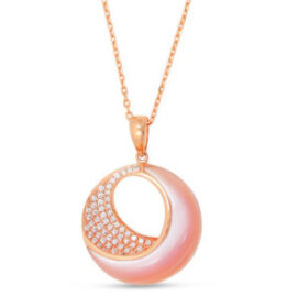 rose gold pink mother of pearl & diamond necklace