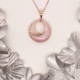 rose gold necklace with pink mother of pearl and diamonds