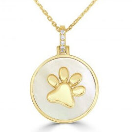 mother of pearl and diamond dog paw necklace