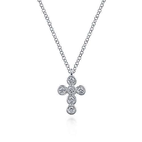 milgrain edge bezel set diamond cross necklace