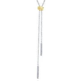 two tone y knot necklace with diamonds