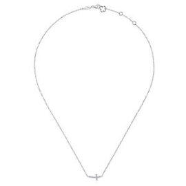 sideways diamond cross necklace with adjustable chain