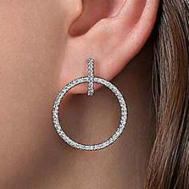 gold diamond double circle huggie earrings