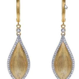 gold teardrop shape dangle earrings with diamonds