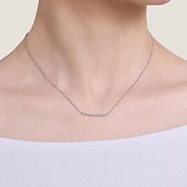 gold curved pave set diamond bar necklace
