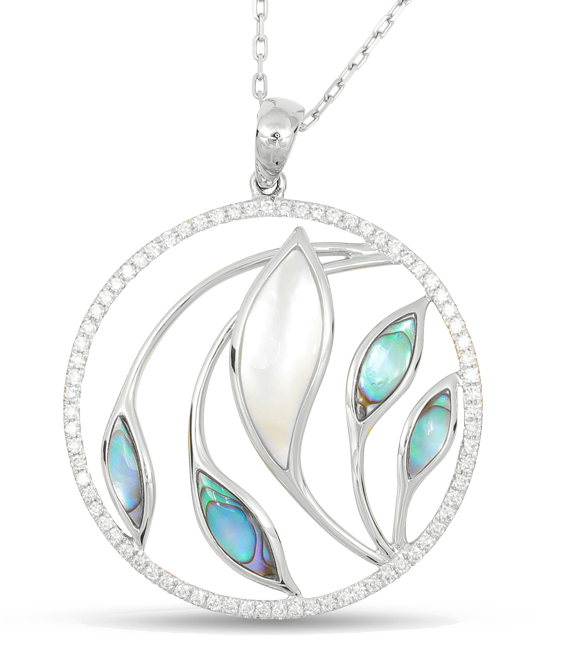 white gold abalone, white mother of pearl, & diamond necklace