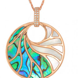 rose gold abalone, mother of pearl and diamond necklace