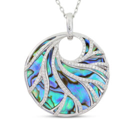 abalone and diamond necklace