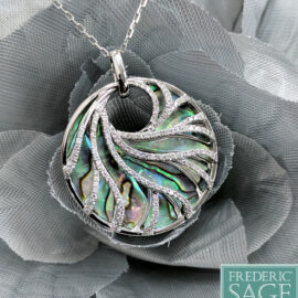 abalone necklace with swirls of diamonds