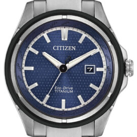 citizen eco drive titanium blue face watch