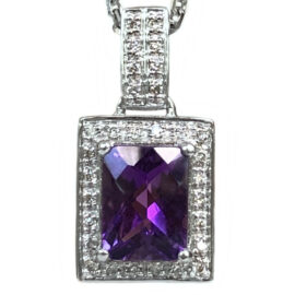 amethyst & diamond halo pendant