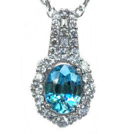18kt white gold blue zircon & diamond halo pendant