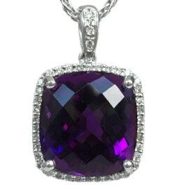 cushion shape amethyst & diamond halo pendant