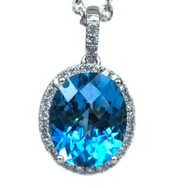 oval blue topaz & diamond halo pendant