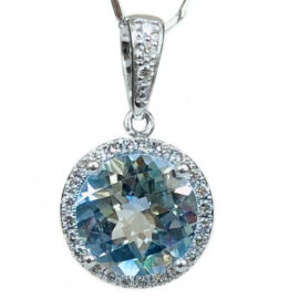 aquamarine & diamond halo pendant