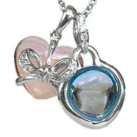 heart shape rose quartz, blue topaz, & diamond pendant
