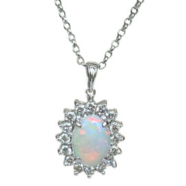 oval opal & diamond halo pendant