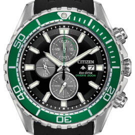 citizen eco drive promaster diver with black rubber strap