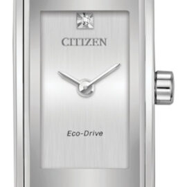 citizen eco drive ladies rectangular silver face watch