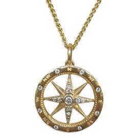 yellow gold diamond compass pendant