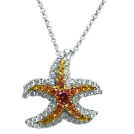 gold yellow sapphire & white diamond starfish necklace