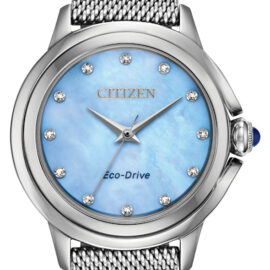 citizen eco drive blue mother of pearl ladies watch