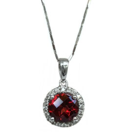 garnet & diamond halo pendant