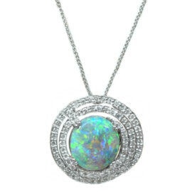 black opal and multi diamond halo pendant