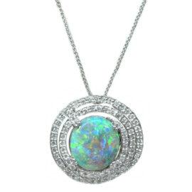 black opal and multi diamond halo pendant