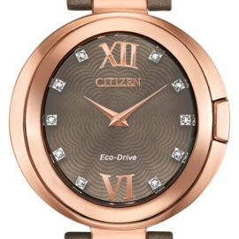 citizen eco drive ladies brown mother of pearl