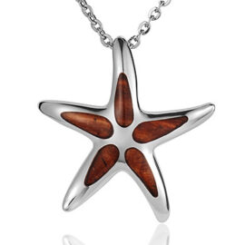 sterling silver koa wood starfish pendant