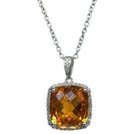 cushion shape citrine & diamond halo pendant