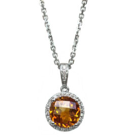 citrine & diamond halo pendant