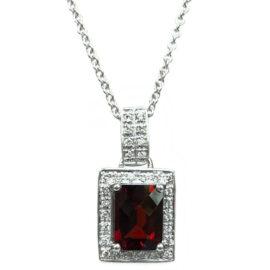 garnet & diamond halo pendant