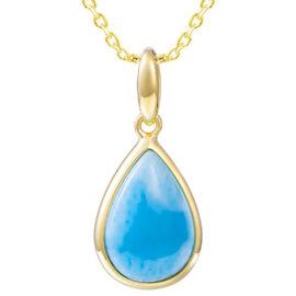 gold tear drop shape larimar pendant