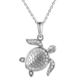14kt diamond turtle pendant