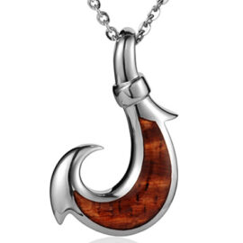 koa wood large fish hook pendant