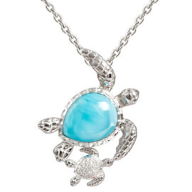larimar mommy & baby turtle pendant