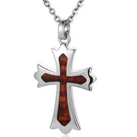 koa wood cross pendant