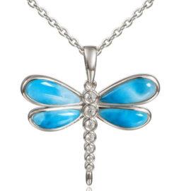 larimar & white topaz dragonfly pendant