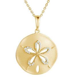 14kt diamond sand dollar pendant